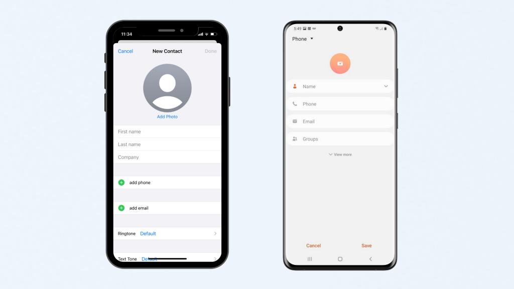 Smartphones showing contacts app.