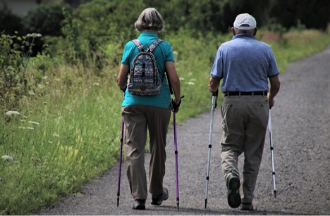 An elderly couple staying active by walking on a trail.