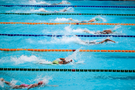 People swimming in a pool